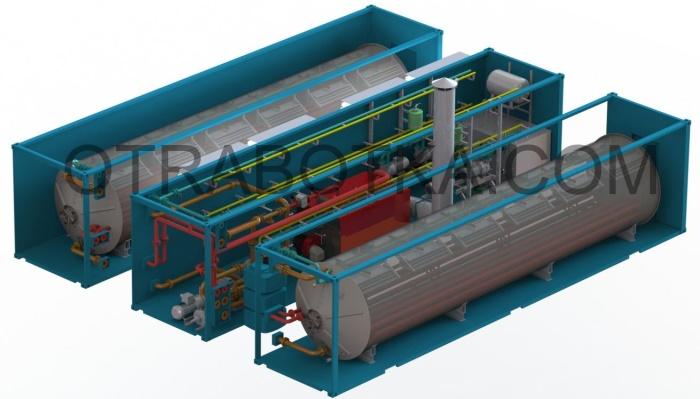 Блок разделения нефтешламов, мазутов, СОЖ и других жидких нефтепродуктов на основе вакуумного выпаривателя серии БРНШ